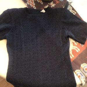 Gray wool short sleeve cable knit T-shirt sweater